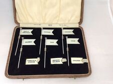 RARE ART DECO PERIOD CASED SET OF SOLID SILVER SANDWICH MARKER FLAGS