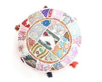 """Indian Wool Jute 18"""" Boho Round Floor Pillow Bohemian Patchwork Cushion Cover"""