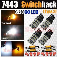 4X 7443 Type 2 Switchback White/Amber 60 LED Turn Signal Light Bulbs + Resistors