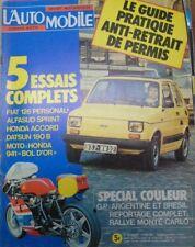 L'automobile N° 368 1977 Fiat 126 personal Alfasud Sprint Honda Accord Datsun