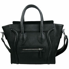 Women Designer Celebrity Leather Smile Tote Bag Shoulder Satchel Handbag Black