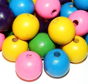 WL366 Bright Yellow Blue Green Pink Purple Mix 20mm Round Wood 100gm