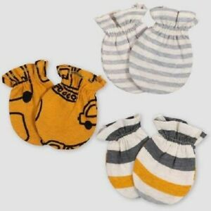 Gerber Baby Boys' 3pk Gold-Gray Cars and Stripes Mittens Size 0-3M
