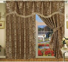 Pencil Pleat Curtains Pair Fully Lined Pelmet Ready Made Jacquard Pair Tie backs