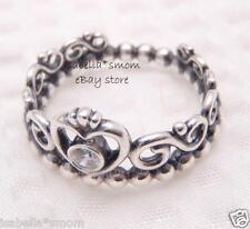 MY PRINCESS Genuine PANDORA Silver/ZIRCONIA CZ Heart Tiara CROWN Ring 9/60 NEW
