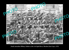 OLD LARGE HISTORIC PHOTO THE WWI MILITARY LIGHT HORSE MACHINE GUN CORPS c1914