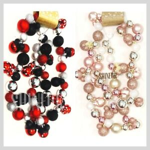 Disney Primark Christmas Mickey Mouse Bauble Garland Red/Pink Decoration NEW