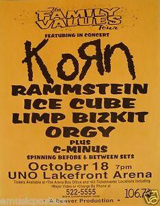 KORN / RAMMSTEIN / ICE CUBE / LIMP BIZKIT 1998 NEW ORLEANS CONCERT TOUR POSTER