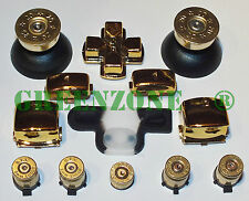 Chrome Or remplacement Mod Kit + Brass Bullet Boutons Pouce Home for PS3 Shell