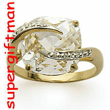 X044 - BAGUE OR DOUBLE AM. / ring goud  DIAMANTS CZ T58