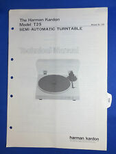 HARMAN KARDON T25 TURNTABLE TECHNICAL SERVICE MANUAL ORIGINAL THE REAL THING