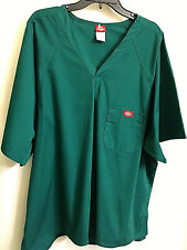 Dickies Plus Size 2Xl Women Scrub Solid Green Short Sleeve V Neck 2 Pockets New