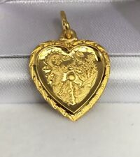 24K Solid Gold Dragon & Phoenix Married Sign Heart Shape Charm/ Pendant. 2.98 Gr