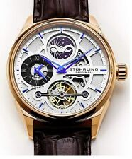 Stuhrling Original Automatic Luxury Skeleton Watch With Blue Hands & Markers F/S