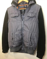 Mens Puffer Vest Fleece Sleeve Jacket Hoodie DISTORTION Quality! Size Sm