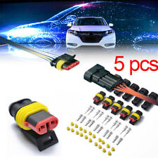 5 Kit 2 Pin Way Sealed Waterproof Electrical Wire Connector Plug Set