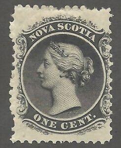 Canada, Nova Scotia 1860 1¢ Black, Sc #8 , Yellowish  paper light hinge