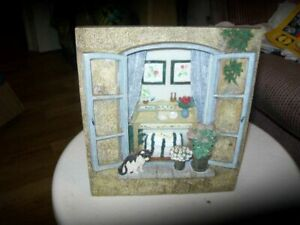 Vintage Standing/ Hanging Home Window Decoration Gift 16 X 17 CM with cat & Vase