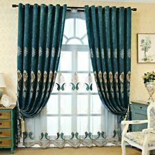 Chenille Blackout Curtains for Living Room European Window Drape Grommet Top