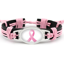 Pink ribbon breast cancer fighter Hand-woven leather Genuine Leather bracelet 1