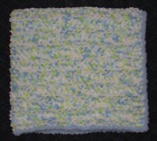 Blue & Lime Chenille Baby Afghan / Blanket with Blue Fluffy Edging - So Soft!