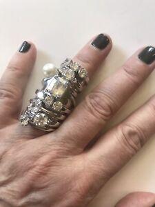 unisex maison martin margiela full finger silver ring/rhinestones