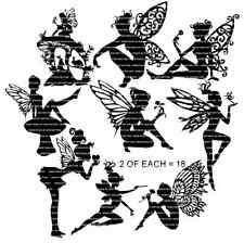 Silhouette Fairies set C 'SMALL' x 18 assorted for Card making, Fairy Jars