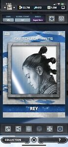 Topps Star Wars Digital Card Trader TLJ Sketch Portraits Rey Insert