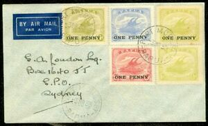 EDW1949SELL : PAPUA Nice usage of overprints on 1939 Air Mail cover to Australia