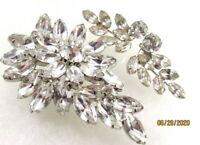 Vintage Clear Rhinestone Brooch Earrings SET Weiss ?