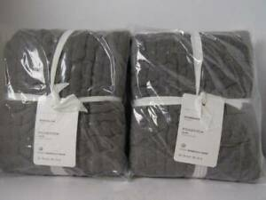 Pottery Barn (2) Flagstone Gray Pick-Stitch Handcrafted Cotton/Linen Shams, NWT.