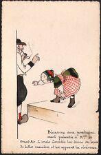 Carte peinte. Bécassine et l'Oncle Corentin. Aquarelle. Vers 1910