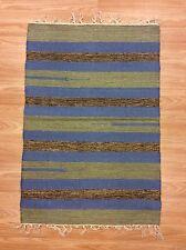 Striped Blue Beige Handloomed 100% Cotton Rag RUG Durrie Mat 60x90cm 2x3 50%OFF