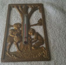 Vintage art nouveau thermometer heavy metal with gold paint TWO CHILDREN flowers