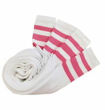 4 PAIR TUBE SOCKS SPORTS COTTON SOCKS 3 PINK STRIPES 22 INCHES LONG SOCKS