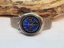 RARE vintage CITIZEN BULLHEAD Chronographe Cadran Bleu daydate Auto Man's Watch