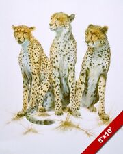 THREE CHEETAH BIG WILD AFRICAN CATS ANIMAL PAINTING AFRICA ART REAL CANVAS PRINT