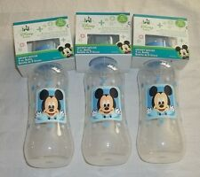 Disney Mickey Mouse - Lot of THREE 9oz Baby Bottles - NEW - Baby Shower Blue