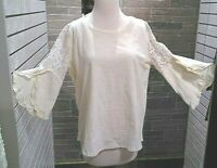 Small Women's Umgee bell sleeve blouse lace Round neck ivory NWT lace arms