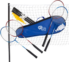 Hey! Play! Badminton Set Complete Outdoor Yard Game with 4 Racquets, Net with Po