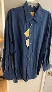 NEW STUBBS Western Cowboy Shirt Stonewash TENCEL LARGE Metal Star Buttons