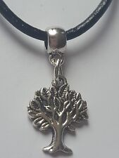 TREE OF LIFE ANTIQUE SILVER CHARM PENDANT ON BLACK LEATHER CHOKER NECKLACE.