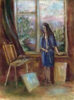 """Russischer Realist Expressionist Öl Leinwand """"Künstlerin"""" 37 x 27 cm"""