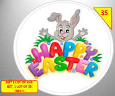Easter party bags ebay 70 happy easter labels stickers sweet cone bags gifts non personalised negle Choice Image