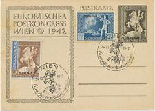 DT.REICH 1942 Sonderkarte Europäischen Postkongress m Aufdruck MAXIMUMKARTE WIEN
