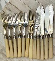 VINTAGE 12PCE KNIFE & FORK BUNDLE STERLING SILVER FERRULES ENGRAVED FISH CUTLERY