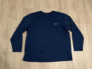 Nike T Shirt Men 3XL Blue Long Sleeve Swoosh Logo Dri Fit Athletic
