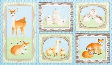 "Animal Deer Duck Baby Cotton Fabric Robert Kaufman Fawn & Friends 24""X44"" PANEL"