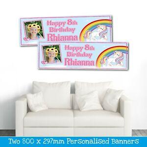 2 PERSONALISED UNICORN RAINBOW PHOTO BIRTHDAY BANNERS - ANY NAME/AGE (800X297MM)