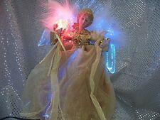 FIBER OPTIC TREE TOP ANGEL IN GOLD DRESS (9E411)